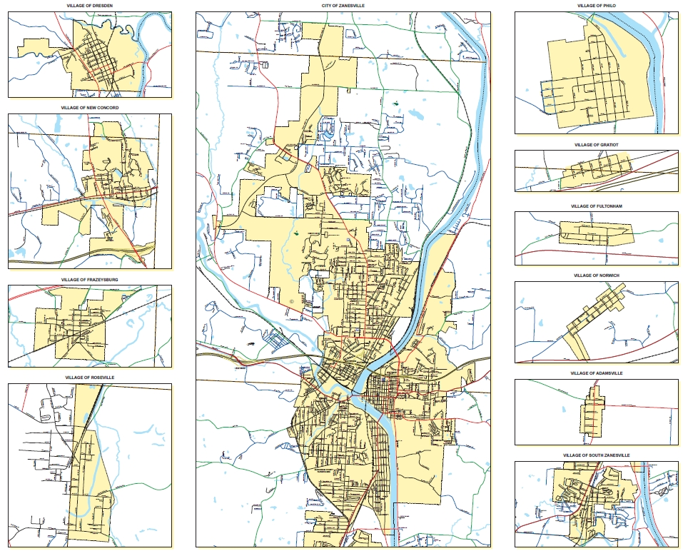 Muskingum County Map Back