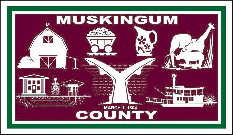 The Flag Of Muskingum County Ohio USA